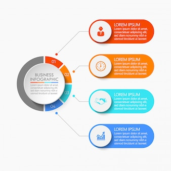 Círculo empresarial. iconos de infografía línea de tiempo diseñados para plantilla abstracta