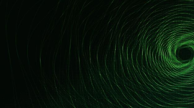 Círculo espiral verde oscuro sobre fondo tecnológico, diseño de concepto digital y de seguridad de alta tecnología