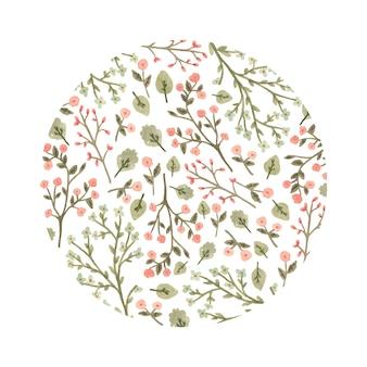 Círculo floral de acuarela en un estilo romántico.