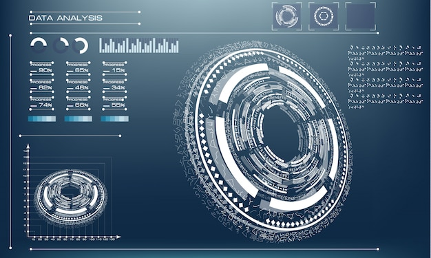 Círculo de futuro futurista sobre un fondo azul