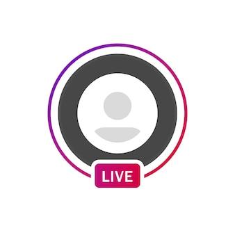 Círculo de gradiente de perfil de marco en vivo de instagram para transmisión en vivo de redes sociales o avatar de icono