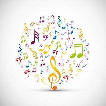 Círculo hecho por notas de música coloridas