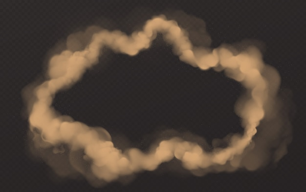 Círculo de humo, nube de smog redonda, vapor de cigarrillo