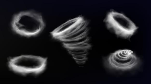 Círculo de humo, vórtice de tormenta de viento, marco redondo de nube de smog, remolino de tornado