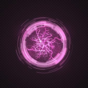 Círculo de iluminación. bola morada, plasma energético. explosión de energía eléctrica, chispas rosas y esfera de rayo.