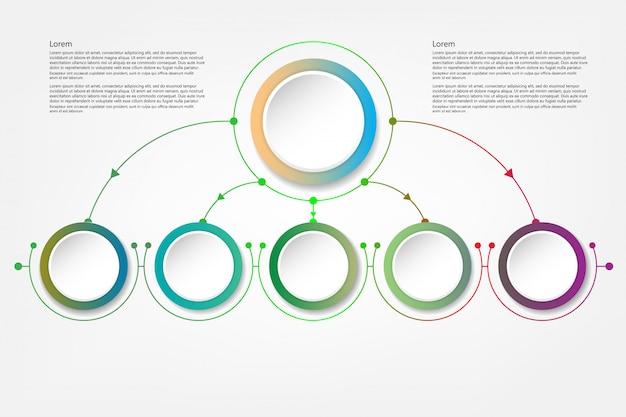 Círculo de infografía con signo de flechas y 5 opciones o pasos