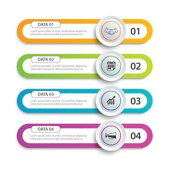 Círculo de infografías y ficha índice de papel con 4 plantillas de datos