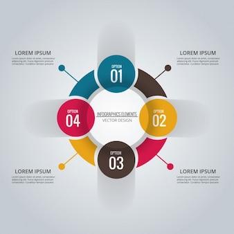 Circulo infográfico con cuatro opciones