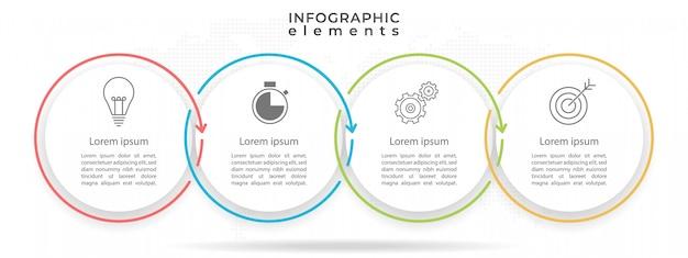 Círculo línea de tiempo plantilla de infografía 4 opciones.