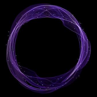 Círculo mágico con luces brillantes y líneas fluidas.