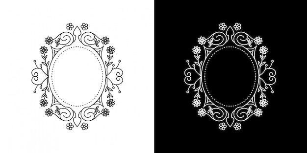 Círculo marco flor vintage monoline