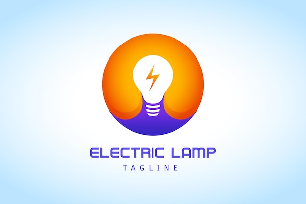 Círculo morado naranja blanco con lámpara de rayo logotipo degradado empresa