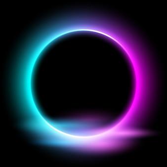 Círculo de neón con efecto de luz sobre fondo negro.