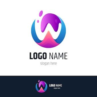 Círculo de onda y logotipo de la letra w