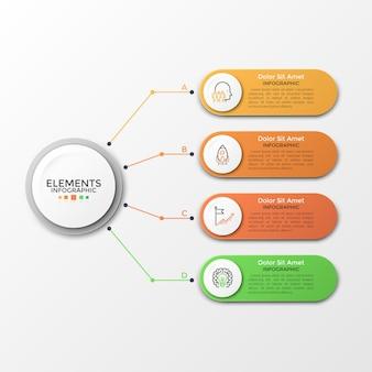 Círculo de papel blanco conectado a 4 elementos redondeados de colores con iconos lineales y lugar para el texto en el interior. concepto de cuatro características del proyecto empresarial. plantilla de diseño infográfico. ilustración vectorial.