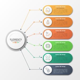 Círculo de papel blanco conectado a 6 elementos redondeados de colores con iconos lineales y lugar para el texto en el interior. concepto de seis características del proyecto empresarial. plantilla de diseño infográfico. ilustración vectorial.
