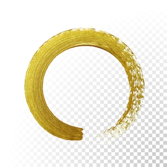 Círculo de pincel de pintura de oro vector sobre fondo transparente.