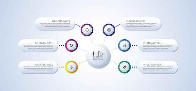 Círculo de plantilla de infografía empresarial de presentación colorido con seis pasos