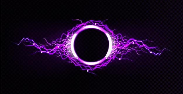 Círculo de rayos eléctricos con efecto de brillo púrpura