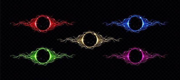 Círculo de relámpagos eléctricos con efecto de brillo de color