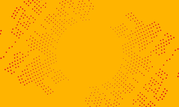 Círculo rojo abstracto en estilo de semitono sobre fondo amarillo. patrón de texturas del sitio web.