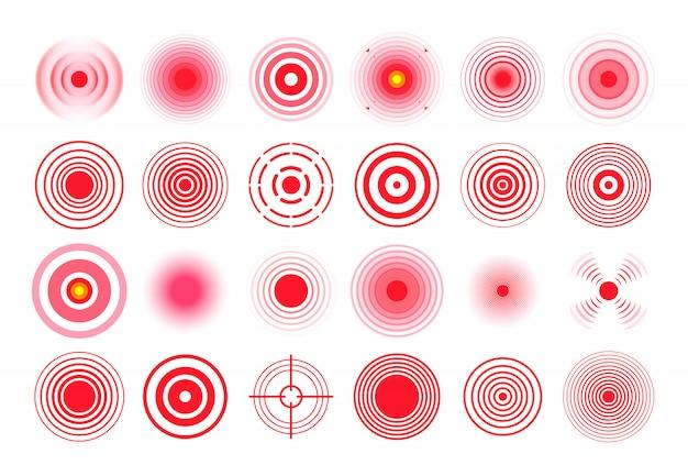 Círculo rojo del dolor. marca de objetivo dolorosa, círculos de área de dolor y conjunto aislado de remedio de terapia de dolor de garganta