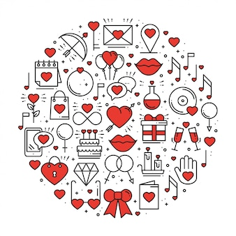Círculo con símbolos de amor en estilo de línea