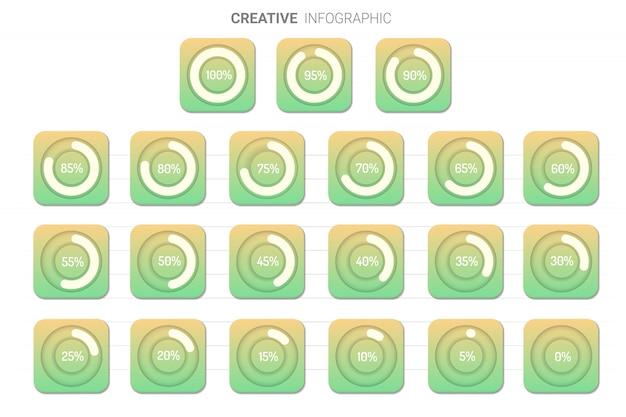 Círculo de tabla de elementos de infografía.