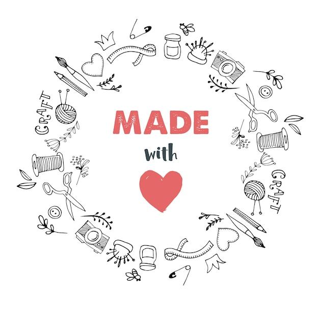Círculo de taller artesanal hecho a mano. hecho con amor