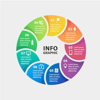 Círculo de vectores plantilla de infografías para la presentación del gráfico de diagrama y el concepto de negocio gráfico con o