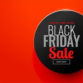 Círculo de venta de viernes negro sobre fondo rojo