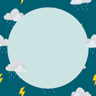 Círculo verde, marco, lindo, lluvioso, nube, patrón, tiempo, vector clipart