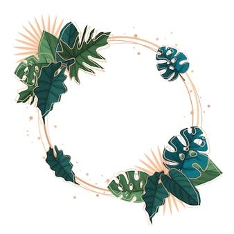 Círculo verde planta tropical verano hoja frontera marco fondo
