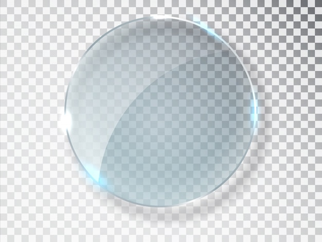 Círculo de vidrio. textura realista con reflejos y brillo en el transparente.