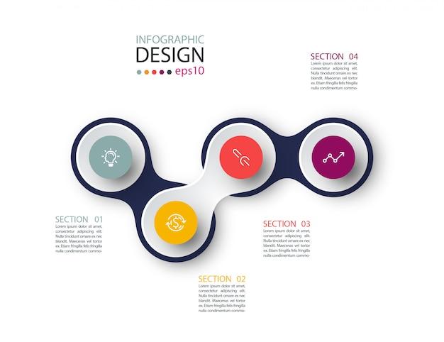 Círculo vinculado en infografía empresarial con cuatro pasos
