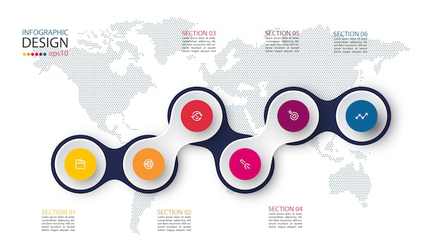 Círculo vinculado con la infografía de icono de negocios en el fondo del mapa mundial.