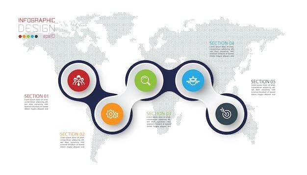 Círculo vinculado con infografías de icono de negocios en el fondo del mapa mundial.