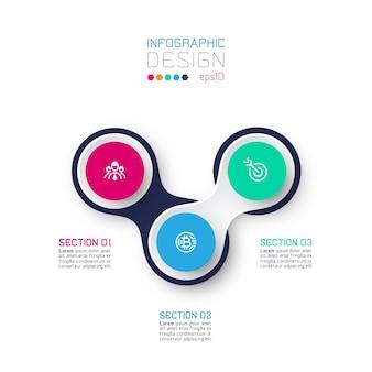 Círculo vinculado con infografías de icono de negocios sobre fondo blanco