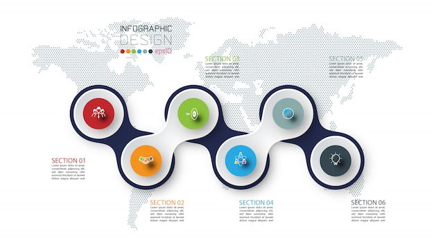 Círculo vinculado con infografías de iconos de negocios en el fondo del mapa mundial.