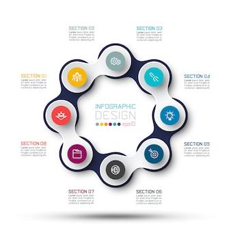 Círculo vinculado con infografías de iconos de negocios en el mapa mundial