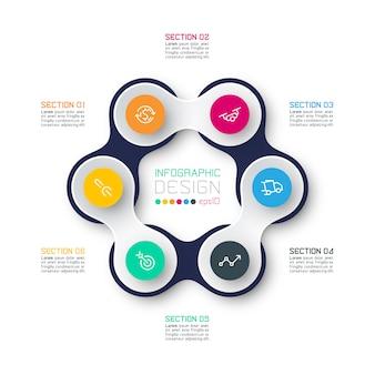 Círculo vinculado con infografías de iconos de negocios