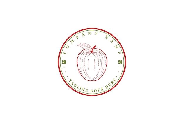 Círculo vintage retro apple granja sidra producto etiqueta diseño logotipo vector