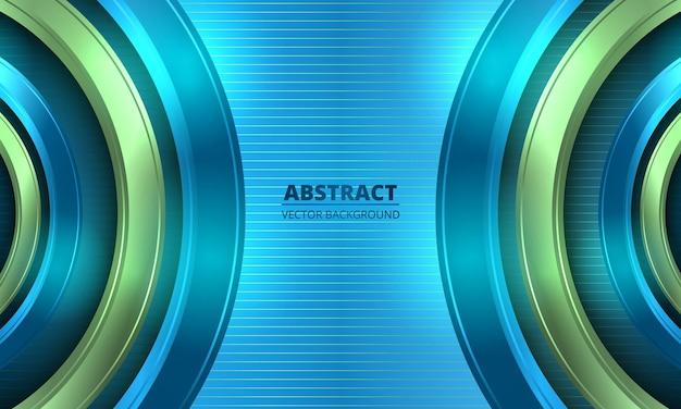 Círculos abstractos azules y verdes sobre fondo rayado