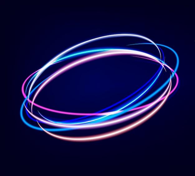 Círculos borrosos de neón en movimiento.