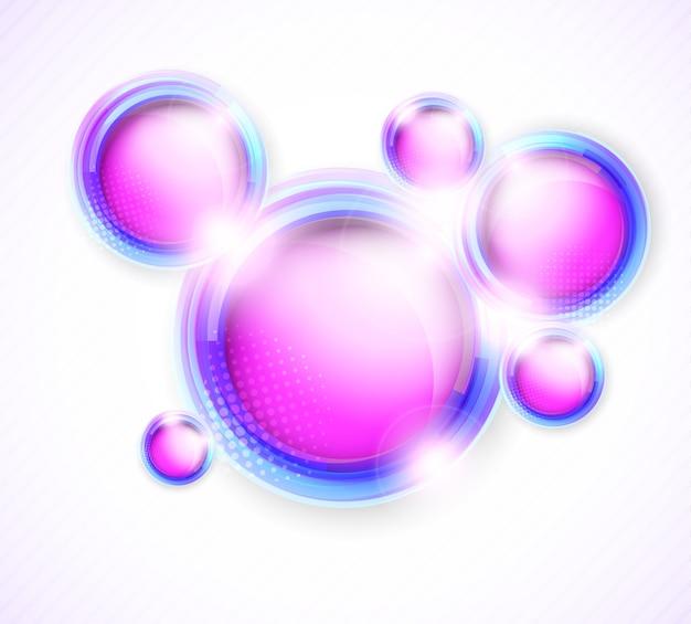 Círculos brillantes rosados brillantes abstractos. fondo brillante
