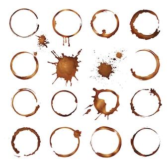 Círculos de café anillos sucios salpicaduras y gotas de plantilla de vector de taza de té o café