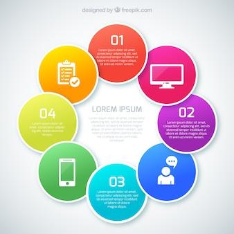 Círculos coloreados infografía