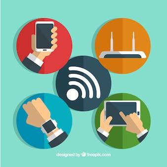 Círculos de colores con dispositivos tecnológicos conectados a wifi