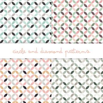 Círculos de colores pastel y patrones editables de diamantes