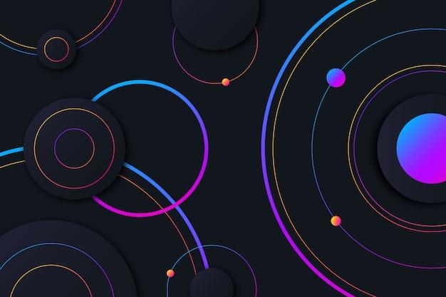 Círculos coloridos sobre fondo oscuro